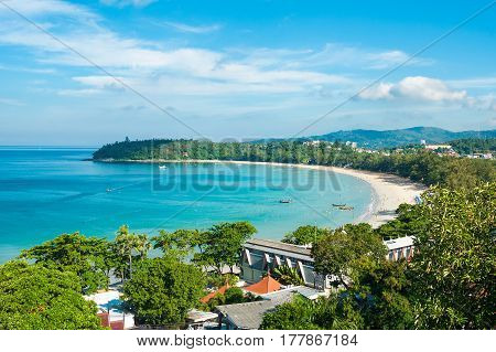Beautiful view of Kata beach from the hill. Phuket, Thailand