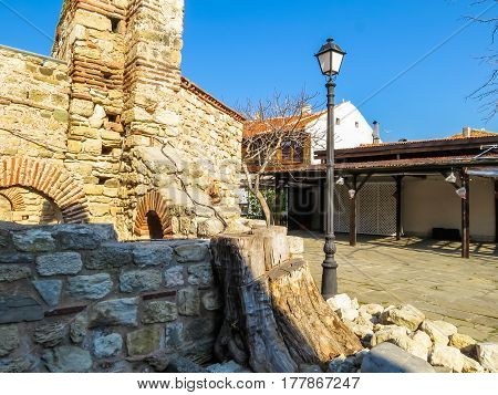 Ruins of ancient bulgarian Church. Street of the Old Nessebar, Bulgaria