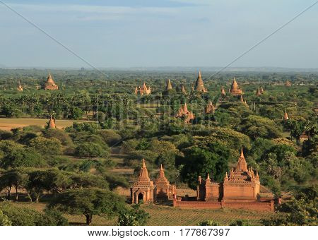 Bagan archaeological zone Myanmar. Bagan's prosperous economy built over 10000 temples between the 11th and 13th centuries.