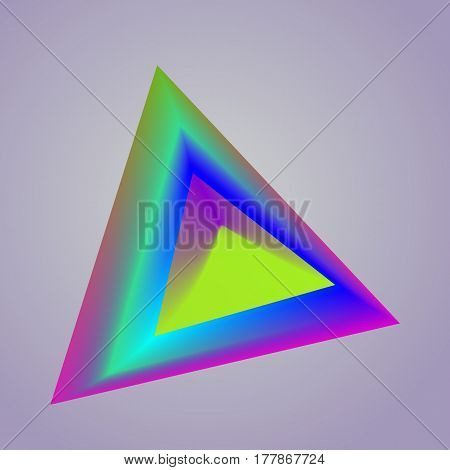 Vector Drawn Colorful Triangle On Light Blue Background.