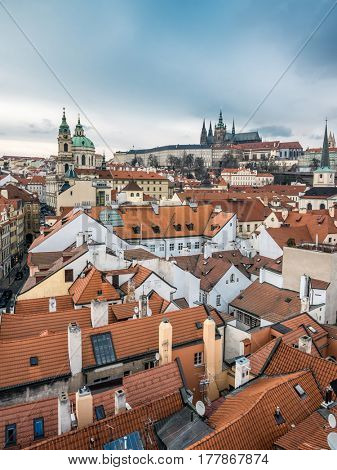 View of the Lesser Town, St. Nicholas Church and Prague Castle, Prague, Czech Republic