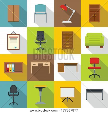 Office furniture icons set. Flat illustration of 16 office furniture vector icons for web