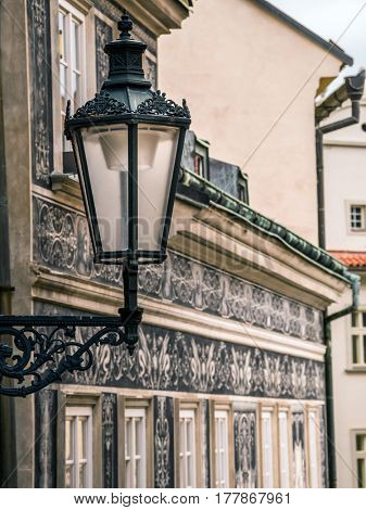 Old stylish street lantern in Lesser Town district, Prague, Czech republic