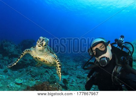Scuba diving selfie with Hawksbill Sea Turtle