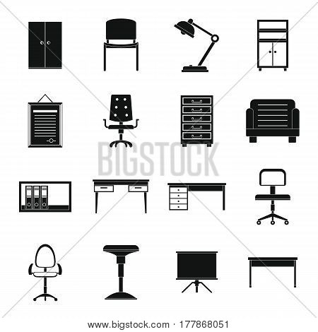 Office furniture icons set. Simple illustration of 16 office furniture vector icons for web