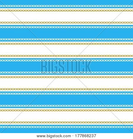Seamless pattern with chains. Ongoing stripes background of marine theme blue color. Vector illustration