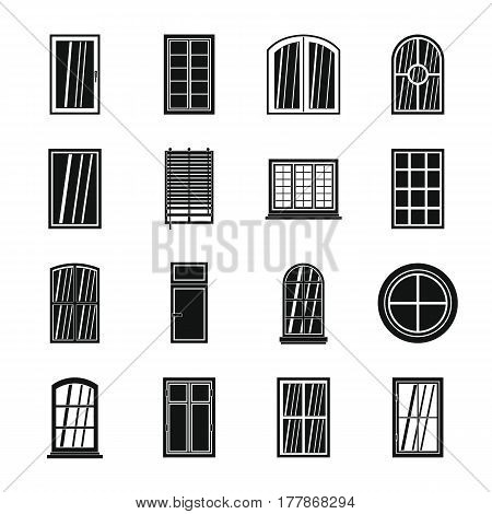 Plastic window forms icons set. Simple illustration of 16 plastic window forms vector icons for web