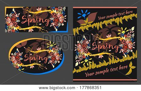 Vector set of floral spring-summer greeting cards and banners. Colorful flowers and leaves on tree branches. Beautiful vector lettering on spring season. There is place for text