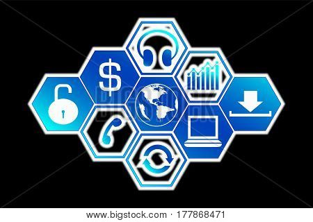 technology icons and white shadow blur on black background