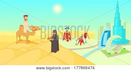 UAE travel horizontal banner concept. Cartoon illustration of UAE travel vector horizontal banner for web