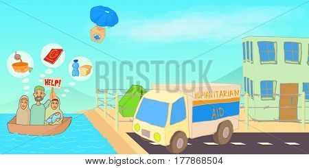 Refugee crisis horizontal banner concept. Cartoon illustration of refugee crisis vector horizontal banner for web