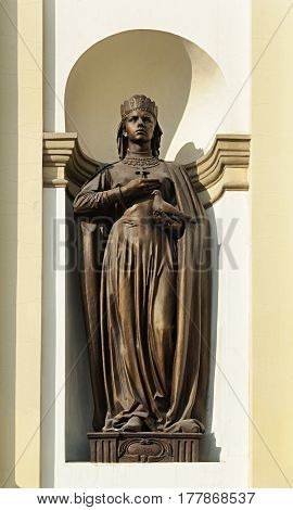 Sculpture of St. Princess Olga at the entrance of the Cathedral of the Holy Resurrection of Christ in Ivano-Frankivsk Ukraine