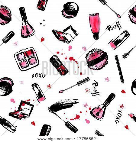 Make Up Hand drawn seamless pattern. fashion style cosmetics with nail polish, lipstick, mascara, brush, lip gloss. Pink and black.