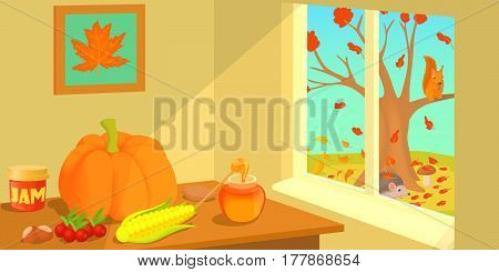 Autumn horizontal banner concept. Cartoon illustration of autumn vector horizontal banner for web