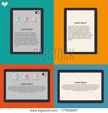 Tablet In Vertical And Horizontal Position, Blank And With News Content, Flat Design Illustration