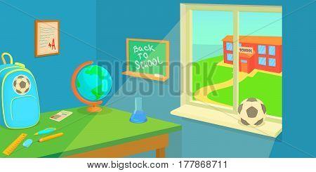School room horizontal banner concept. Cartoon illustration of school room vector horizontal banner for web
