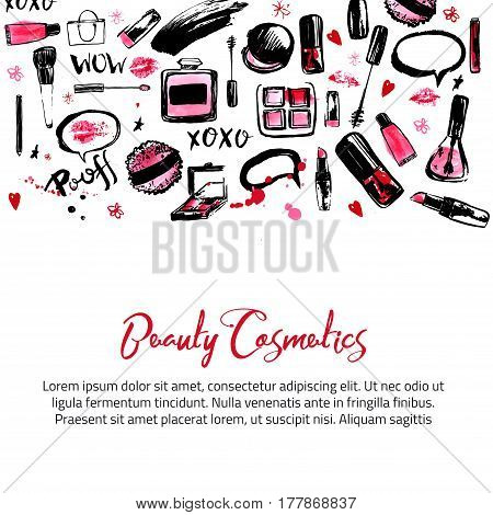 Site banner templates for makeup artist, studio. Site header, business card, brochure and flyer. Watercolor background in pastel colors