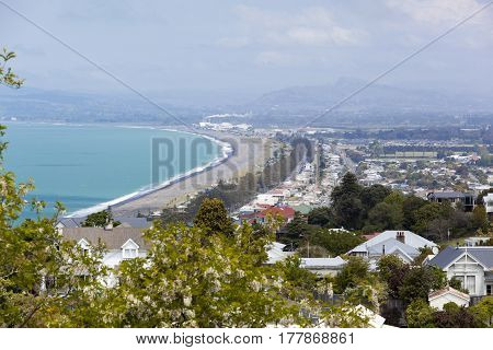 The aerial view of the beach alongside Napier town (New Zealand).