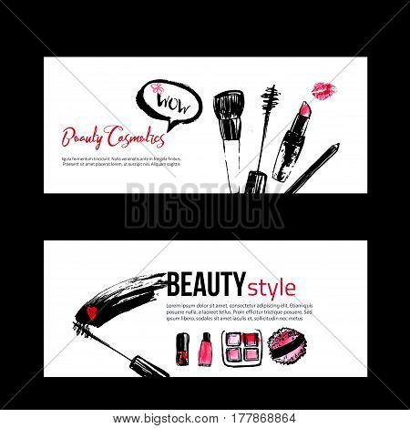 Banner templates for makeup artist, studio, site header, business card, brochure and flyer. Fashion style cosmetics with nail polish, lipstick, mascara, brush, lip gloss, lips. Pink and black