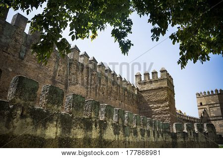 Ramparts of Seville city wall in Andaluisa