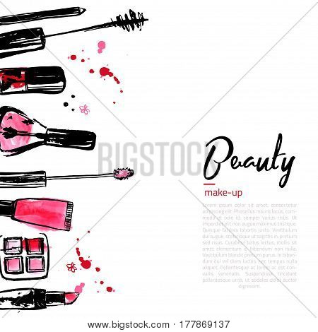 Fashion Cosmetics background with make up objects: lipstick, powder, brush. With place for your text. Glamour women style.