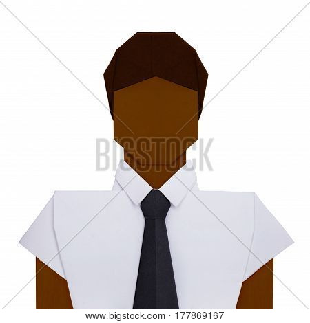Origami paper businessman in white shirt with black tie on a white background