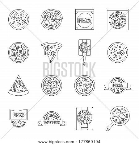 Pizza icons set food. Outline illustration of 16 pizza vector icons for web
