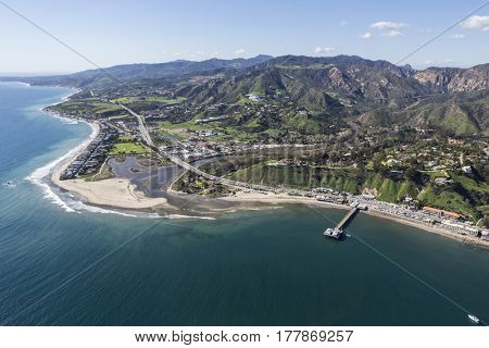 Aerial view of Malibu Pier and Surfrider Beach near Los Angeles, California.
