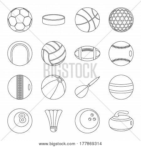 Sport balls icons set. Outline illustration of 16 sport balls vector icons for web