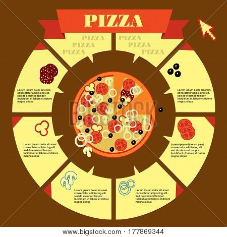 Pizza Party Cartoon Advertising Poster With Date And Time Vector Illustration