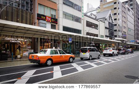 Traffic At Downtown In Kyoto, Japan