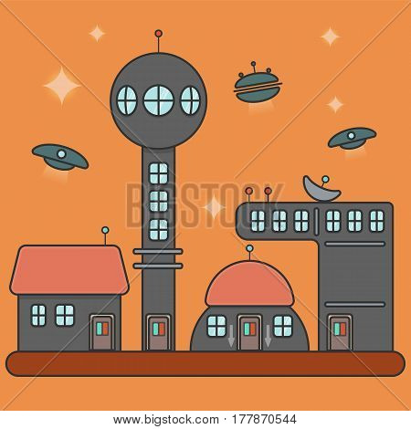 Vector illustration of futuristic city or some industrial complex. Flat image on the orange background.