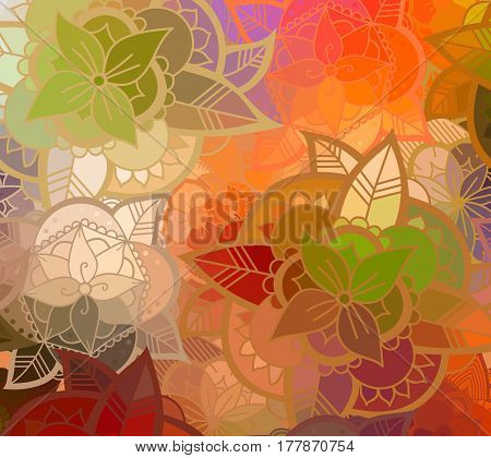 Abstract Colorful Flower Pattern. Hand Drawn Color Background.