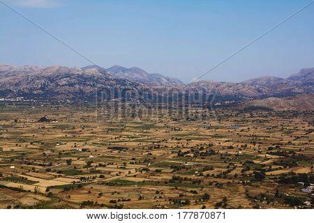 A Fertile lassithi Plateau in a Mountain Region Crete