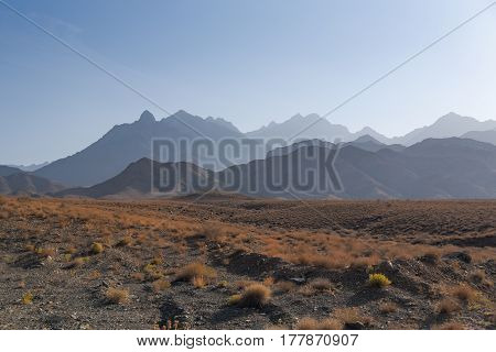stone desert with dry plant and layers of mountain under clear blue sky majestic landscape in Iran