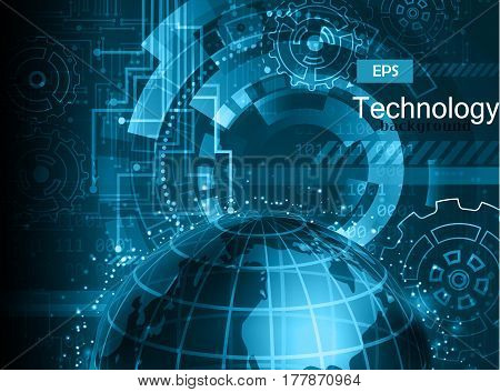 Abstract technology background vector illustration in blue