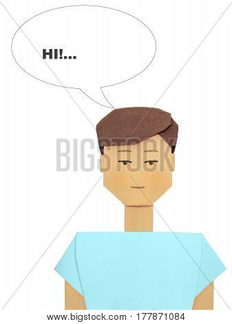 Origami teenager thinking cartoon illustration isolated on white background