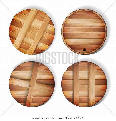 Barrel Wooden Sign Vector. 3d Icon With Shadow
