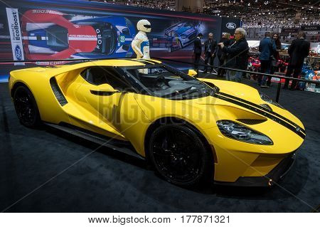 GENEVA SWITZERLAND - MARCH 7 2017: Ford GT supercar on display at the 87th Geneva International Motor Show.