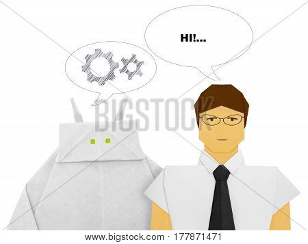Paper origami white robot chatbot chat bot or chatterbot dialog with human on a white background