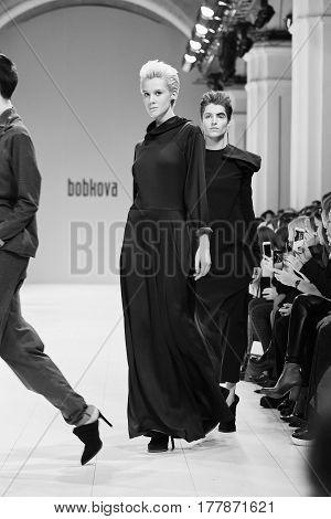 Kyiv, Ukraine - February 4, 2017: Models Walk The Runway During Fashion Show By Kristina Bobkova Aut