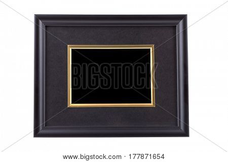 Black picture frame with golden rim isolated on white with clipping path