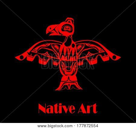 totem bird indigenous art stylization on black background with native ornament