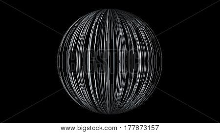 Abstract background with a sphere formed from the lines. 3d rendering