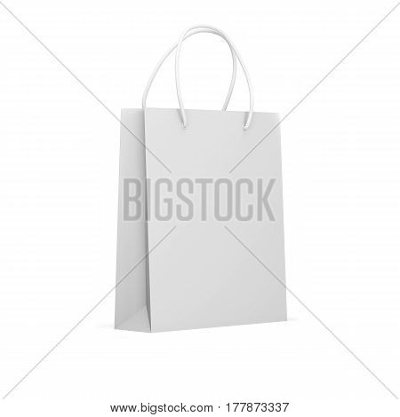 Mock up white paper package  isolated on a white background. Blank paper bag. 3d render