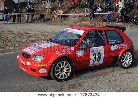 Cadibona Italy - March 02 2016 - Riviera Rally: Citroen AX crew