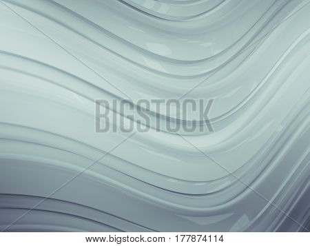 3d illustration of white waves abstract bionic structure background