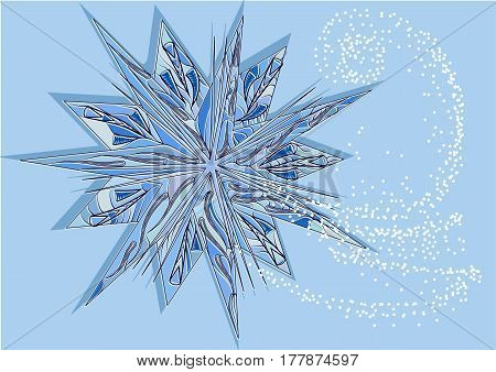 Christmas star on blue background with snow
