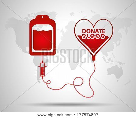 Blood Bag And Heart. Blood Donation Day Concept. Human Donates Blood. Vector Illustration In Flat St
