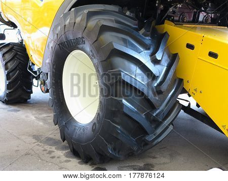 18.03.2017 Moldova Chisinev: Close up of tractor tire at a farmer's exhibition
